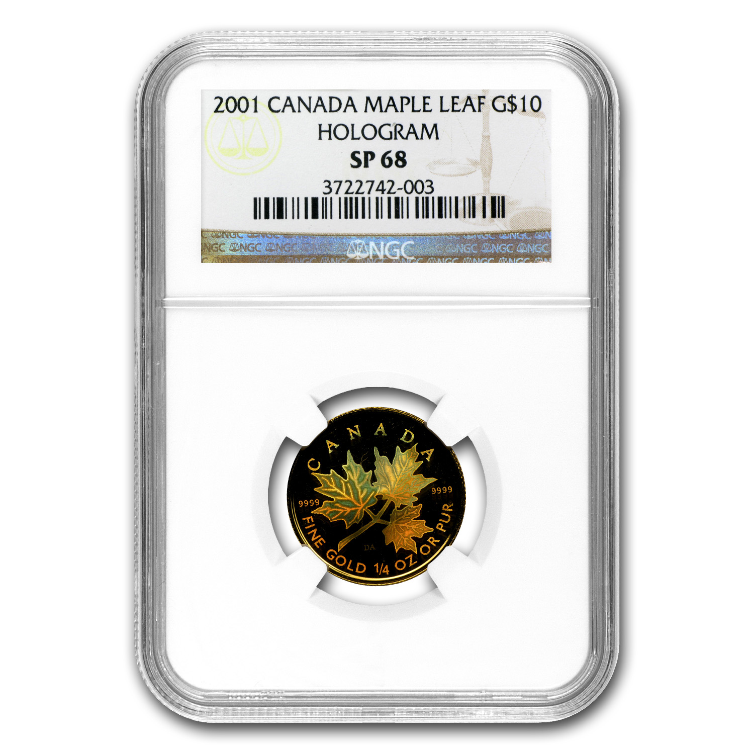 2001 Canada 1/4 oz Gold Maple Leaf SP-68 NGC (Hologram)